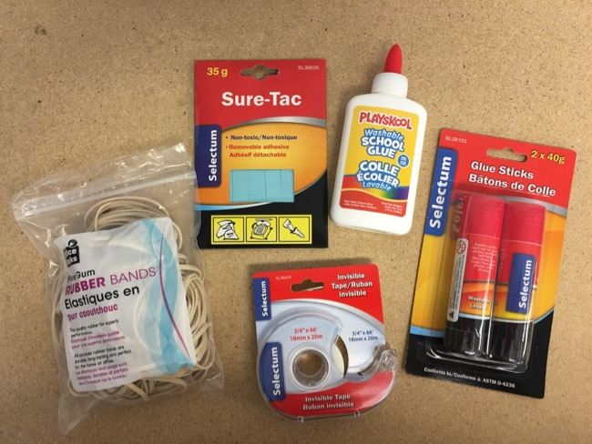 Glues/Tape/Rubber Bands