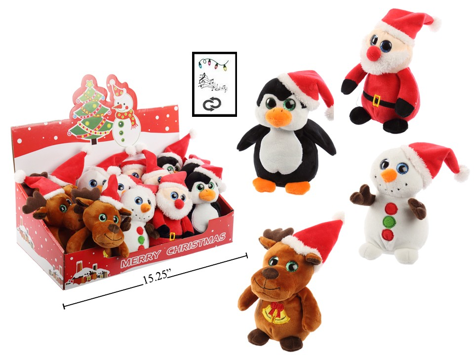 "Christmas 5.5"" Plush Characters with music and lights"