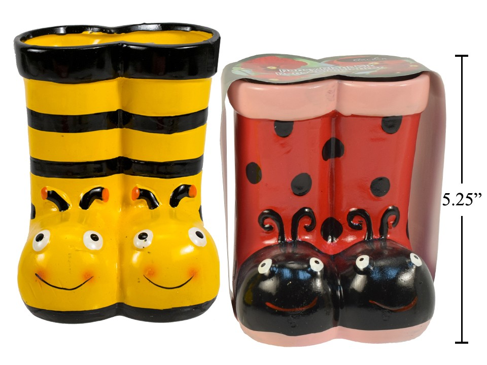 Ceramic Painted Rainboot Planter With Seeds And Compost 5 H