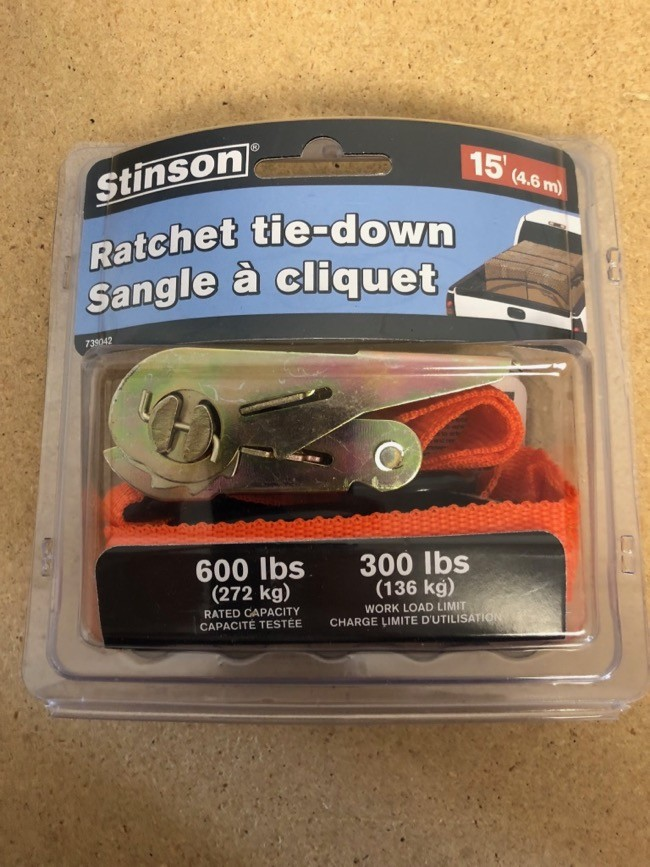 Tie-Down Ratchet Straps ~ 1' x 15' @ 600lbs