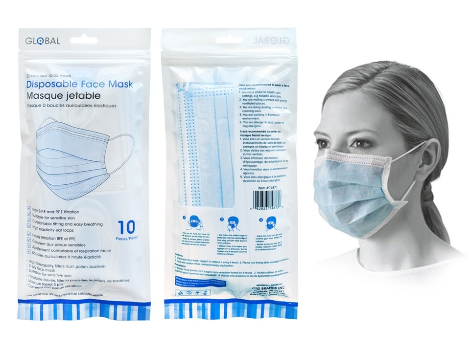 Disposable 3-Ply Face Masks - Blue ~ 10 per pack