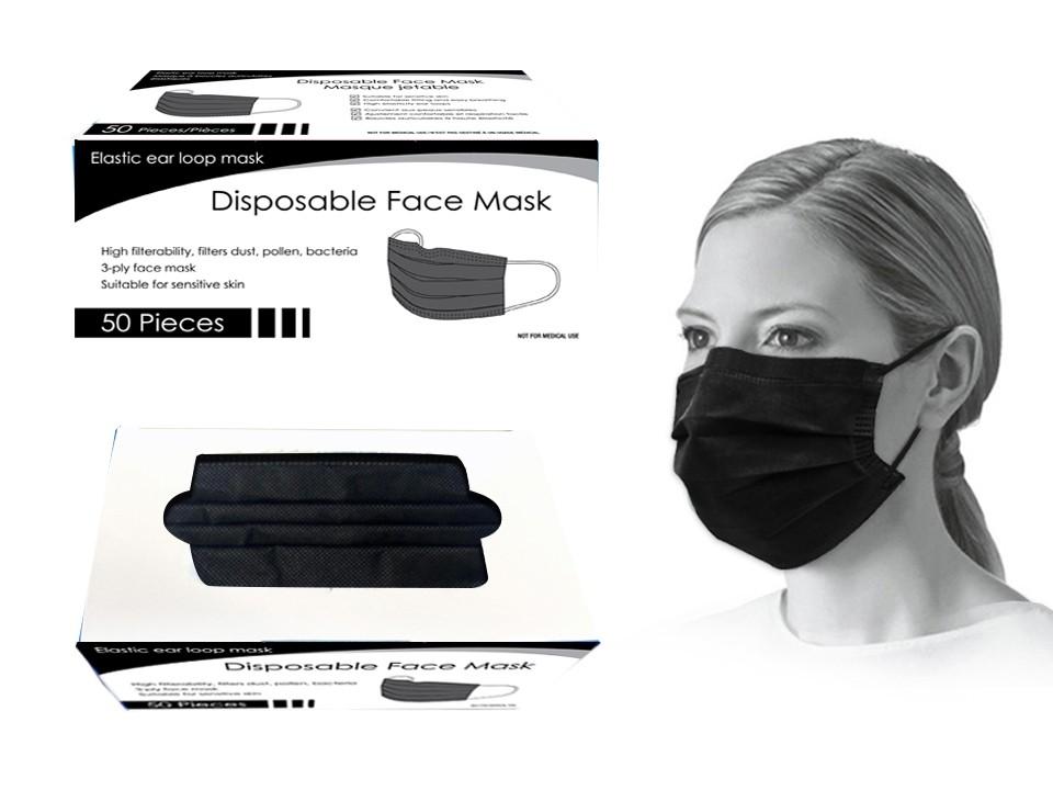 Bodico 4-Ply Disposable Mask - Black ~ 50 per box