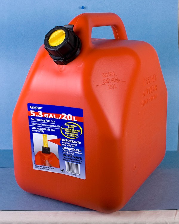 Gasoline Jerry Can ~ 20L / 5 Gal ~ SOLD BY SLEEVE OF 4 ONLY
