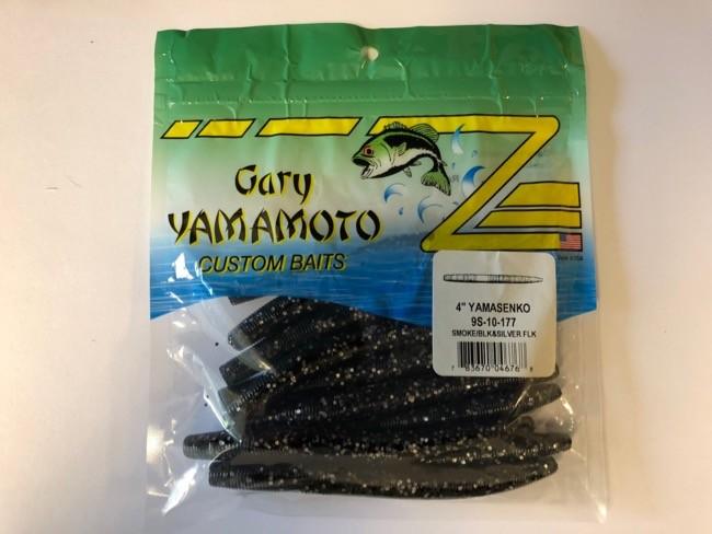"""Gary Yamamoto 4"""" YamaSenko ~ Smoke w/Black & Silve Flake"""