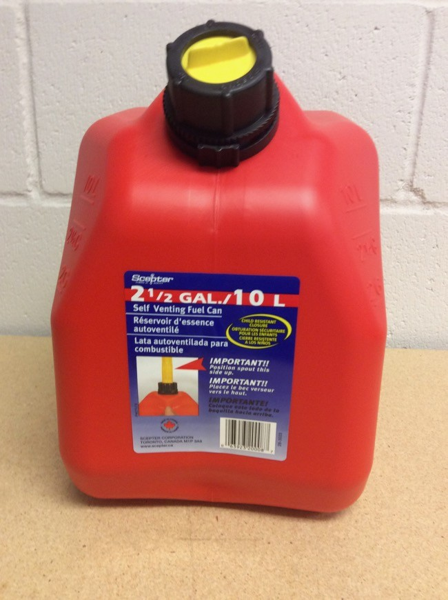 Gasoline Jerry Can ~ 10L / 2.5 Gal ~ SOLD BY SLEEVE OF 5 ONLY