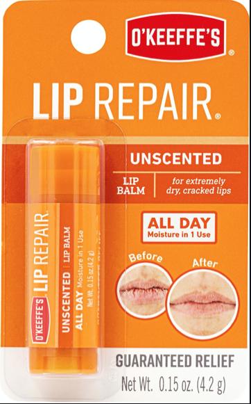 O'Keeffe's Lip Repair Unscented Lip Balm - 4.2gr stick ~ 6 per display