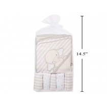 Tootsie Baby Hooded Bath Towel with 5 Washclothes ~ Grey