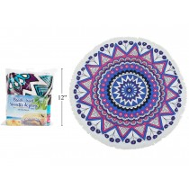 "Mandala Print Round Beach Towel with Fringe - 60"" Diameter ~ in PVC Bag"