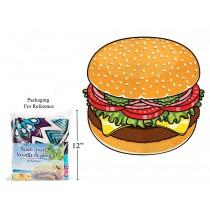 """Hamburger Print Round Beach Towel - 60"""" Diameter ~ in PVC Bag"""