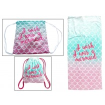 "2-in-1 Mermaid Beach Backpack Towel ~ 30"" x 60"""