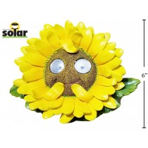 "Solar Polyresin 6"" Sunflower with Light Up Eyes"