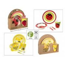 Bamboo Fibre Kid's Bumble Bee / Ladybug Feeding Set ~ 5 pieces