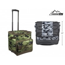 Insulated Camo Picnic Cooler Trolley Bag with Handle + Wheels ~ 40L