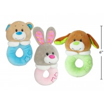 Velvety Soft Animal Baby Rattle - 5""