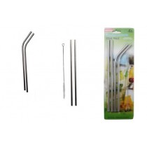 Stainless Steel Straws ~ 2 bent + 2 straight & Cleaning Brush