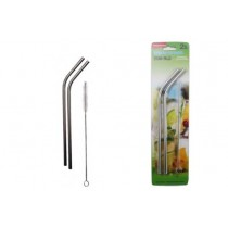 Stainless Steel Straws ~ 2 bent & Cleaning Brush