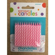 Birthday Candle - Pink Candy Spiral Striped ~ 24 per pack