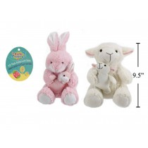 "Easter Plush Animals w/Baby ~ 9.5"""