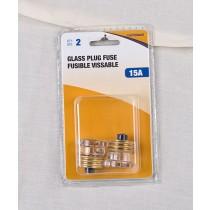 Glass Plug Fuse - 2 per pack ~ 15AMP