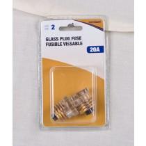 Glass Plug Fuse - 2 per pack ~ 20AMP