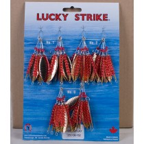 Lucky Strike #195 - Hammered Gold w/Red Stripe Large Willowleaf Spinners ~ 3 dozen per display