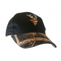 Black Cap w/Camo Peak & Deer Embroidery