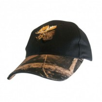 Black Cap w/Camo Peak & Moose Embroidery