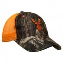 Fluorescent Orange & Camo Cap w/Deer Embroidery