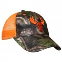 Fluorescent Orange & Camo Cap w/Moose Embroidery