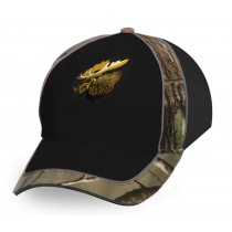 Black Cap w/Camo & Moose Embroidery