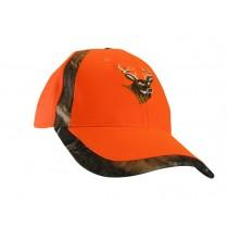 Fl. Orange Ball Cap w/Camo Stripe & Deer Embroidery