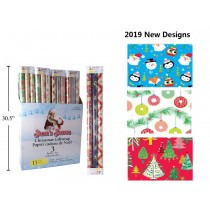 "Christmas 3 x Single Roll Wrapping Paper - 30"" x 72"" ~ 3 per pack"