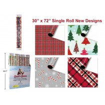 """Christmas 3 x Single Roll Wrapping Paper - 30"""" x 72"""" ~ 3 per pack"""