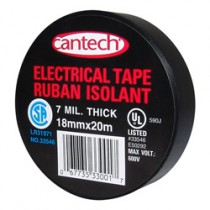 Cantech Black Vinyl Electrical Tape ~ 20m x 6 rolls