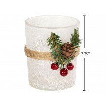 Christmas Snowy Glass Votive Holder with Berries ~ 2.75""