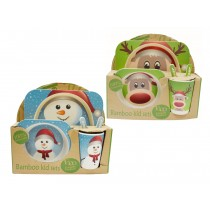 Christmas Bamboo Fibre Kid's Dinner Set ~ 5 piece set