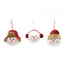 Christmas Snowman Head Plush Tree Ornament