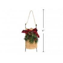 "Christmas Buffalo Plaid Wooden Sled Tree Ornament ~ 5"""