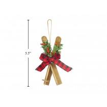 """Christmas Buffalo Plaid Wooden Skies Tree Ornament ~ 5"""""""