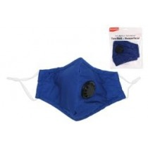 Adult Size Cloth Face Mask with Valve - 3 Layer ~ Navy Blue