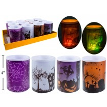 "Halloween LED Flickering Pillar Candle ~ 3"" x 4"""