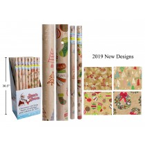 "Christmas Single Roll Krafl Wrapping Paper ~ 30"" x 72"""