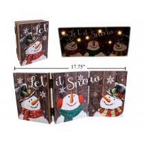 Christmas Snowman MDF Light-Up Tri-Fold Screen