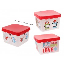 "Christmas Printed Square Storage Container ~ 7"" x 7"" x 4.75"""