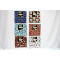 Christmas Printed Flat Wrap ~ 4 per pack