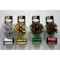 "Christmas Bustle Bow 4.5"" + 10M Curling Ribbon"