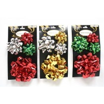 Christmas Star Bows - assorted sizes ~ 4 per pack