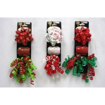 "Christmas Wrapping Set ~ 3.5"" bow + 1 curl swirl bow + 10M curling ribbon"