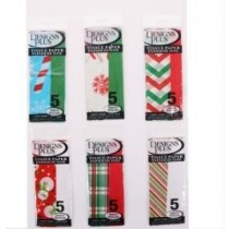 Christmas Printed & Solid Tissue Paper ~ 5 per pack