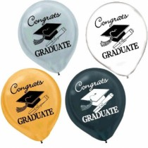 "Graduation Latex Balloons - 12"" ~ 15 per pack"